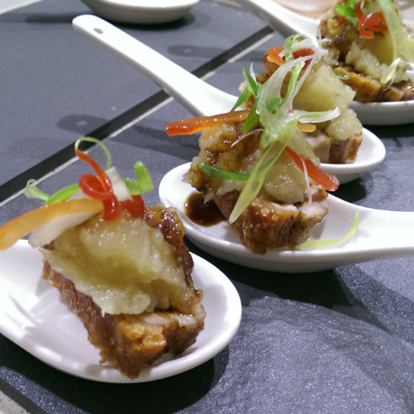 Crispy pork belly canape menu sunshine coast caterer