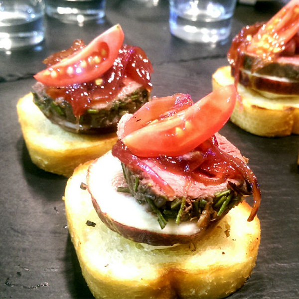 Rosemary Lamb Crostini canape menu sunshine coast caterer